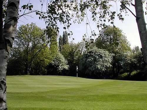 View through the trees of one of Cosbys fantastic greens