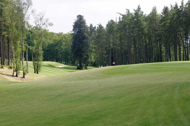 The sloping 4th green on the Palmerston Course at The Melbourne Golf Club at Brocket Hall