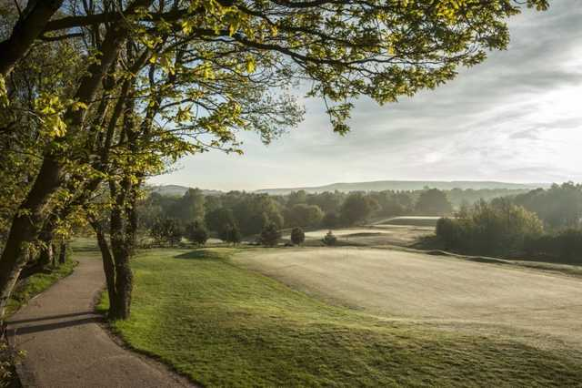 A view of the tree lined golf course at Chorley Golf Club