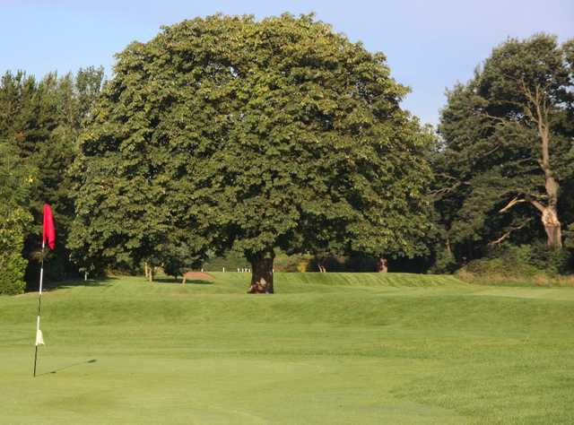 The 18th green at Eastham Lodge Golf Club