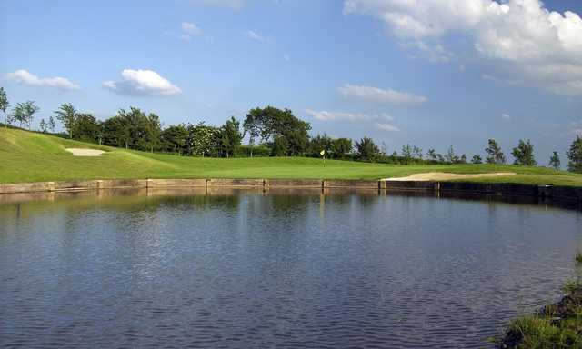 Stunning view across the pond to the 8th green at Houghwood Golf Club