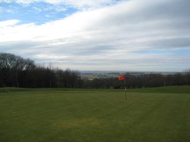 The 18th green overlooking the countryside at Houghwood Golf Club