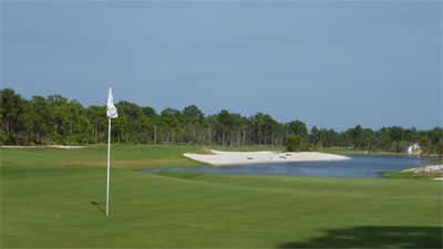A view of green #9 at McArthur Golf Club