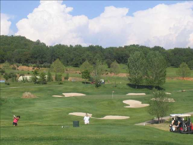 A view of the 8th hole at Greenhorn Creek Golf Course