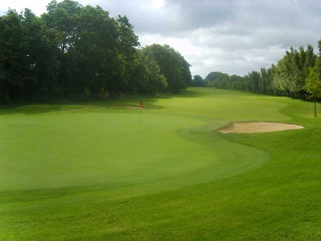 Looking back down the fairway from a green on the West Berkshire Golf Course