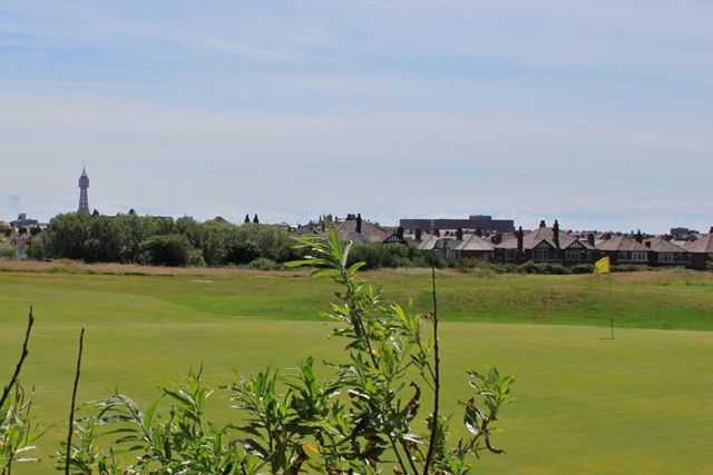 Green with Blackpool Tower in the distance at Blackpool North Shore Golf Club