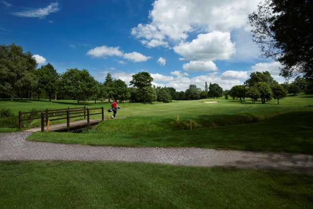 View across the bridge to the 12th hole at Tytherginton Golf Club