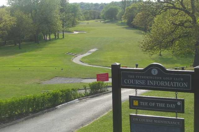 1st hole at Tytherginton Golf Club