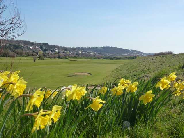 Looking across a fairway at Hythe Golf Club