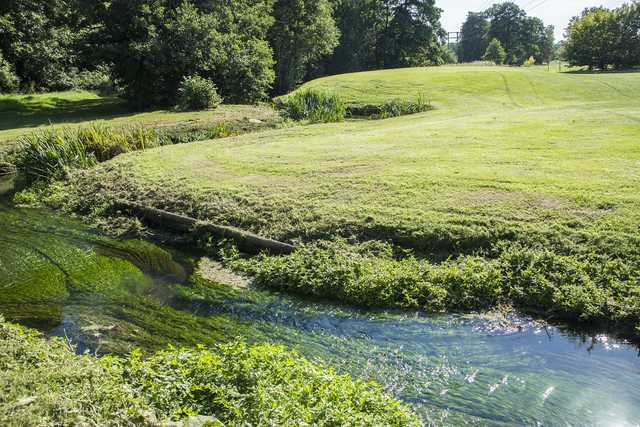 A water hazard at Crane Valley Golf Course