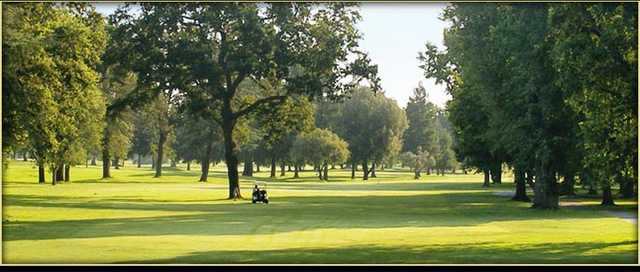 A view from Ancil Hoffman Golf Course with golf cart in background