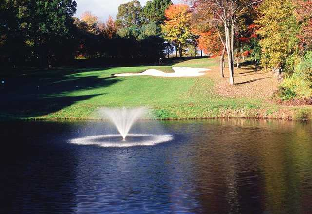 A view over the water of a green at Somers National Golf Club