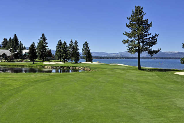View of the 18th fairway at Edgewood Tahoe Golf Course