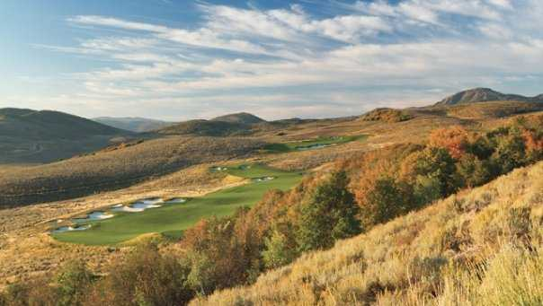 A fall day view of a fairway at Painted Valley Golf Course from Promontory Club