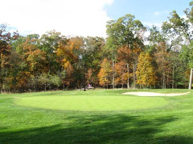 A fall day view of a hole from The Golf Club At Lansdowne