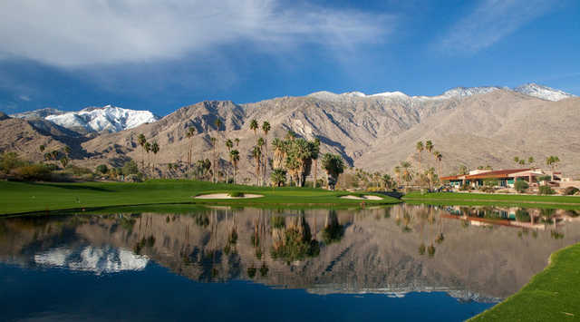 A view over the water of the clubhouse at South Course from Indian Canyons Golf Resort.