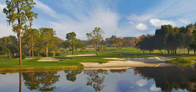 A view over the water of hole #17 from Championship at Bay Hill Club & Lodge.