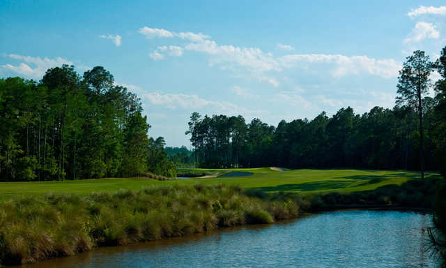 A sunny day view of a fairway from Slammer and Squire Golf Course at World Golf Village