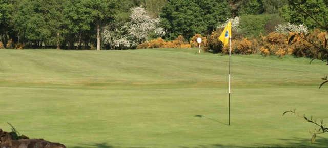 A fresh spring day view of a hole at Frilford Heath Golf Club