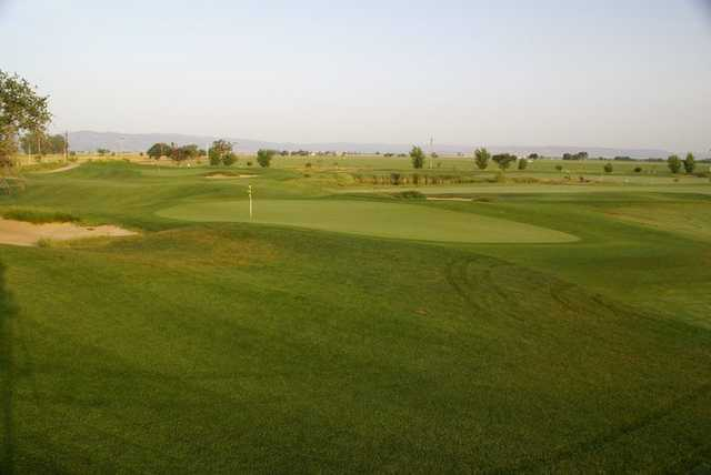 A view of the 1st green at Wild Wings Golf Club