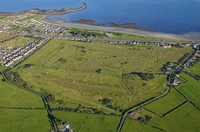 Aeria view of the Kirkistown Castle Golf Club, a 'true links' golf course.