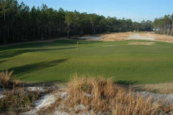 A view of the par-3 12th hole at Windswept Dunes Golf Course