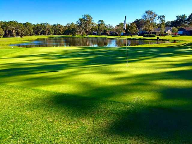A view of a green with water coming into play at Walden Lake Golf & Country Club