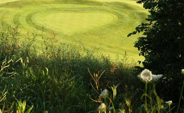 A view of the signature hole #3 at Teetering Rocks Links