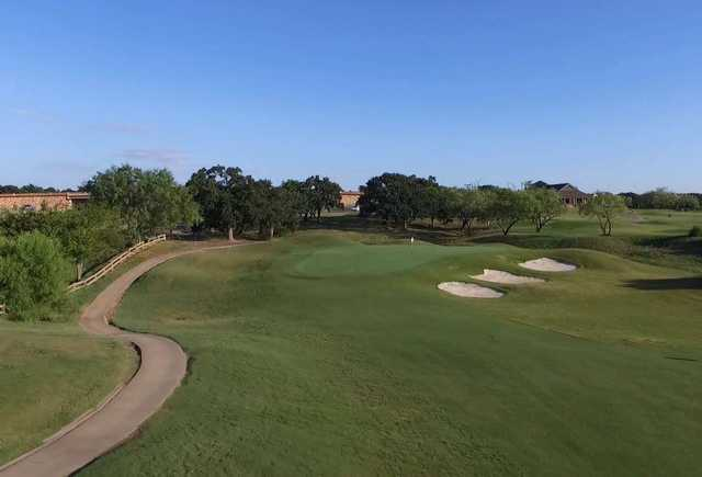 A view of the 18th hole at Hidden Creek Golf Club