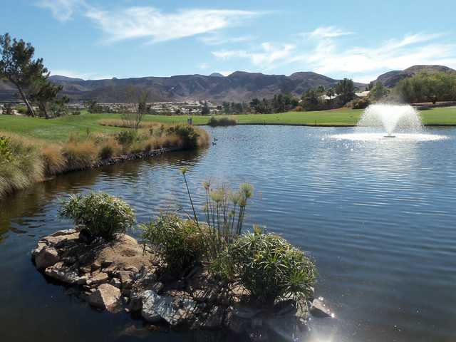 View of the lake from the 18th hole at Desert Willow Golf Course
