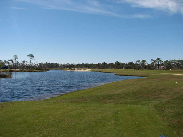 No. 18 at Lost Key Golf Club is an excellent closing hole, calling for a long draw off the tee.