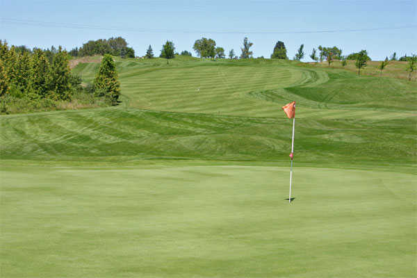A view of the 4th green at Whispering Ridge Golf Course