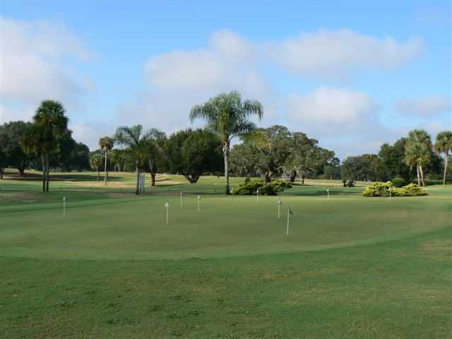 A view of the putting green at Sandhill Golf Course