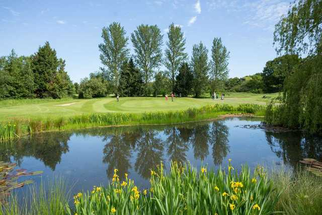 A view across the lake to the 2nd green at Cheshunt Park Golf Centre