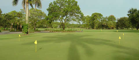 A view of the practice green at Royal Palm Country Club