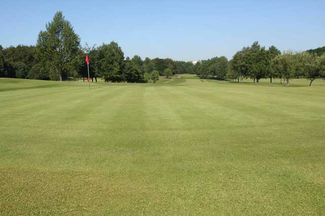 Looking back from the 18th green at Cowglen Golf Club