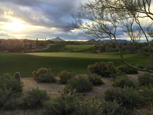 Morning view of the 18th hole at Legend Trail Golf Club