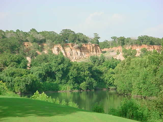 A view from tee #7 to the cliffs at Lost Pines Golf Course