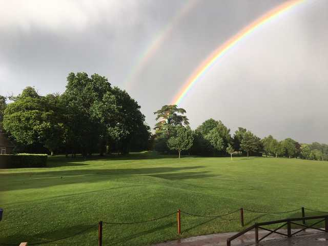 A view of a rainbow over Stowmarket Golf Club