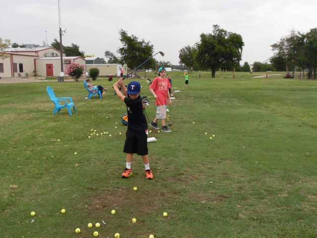 A view of the practice area at Hartlines Golf Center and Driving Range.