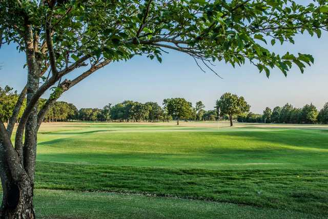 A view of a green at Oak Creek Country Club.