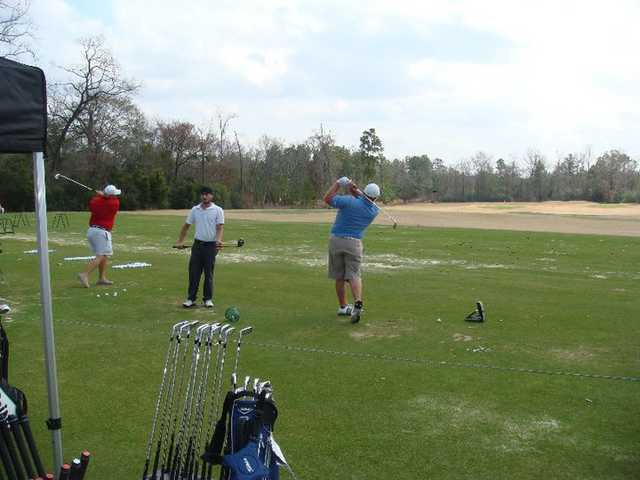 A view of the driving range at Woodforest Golf Club