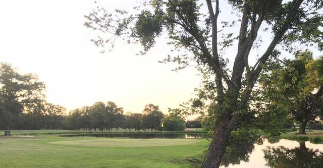 A view of a hole with water coming into play at Pine Ridge Golf Course.