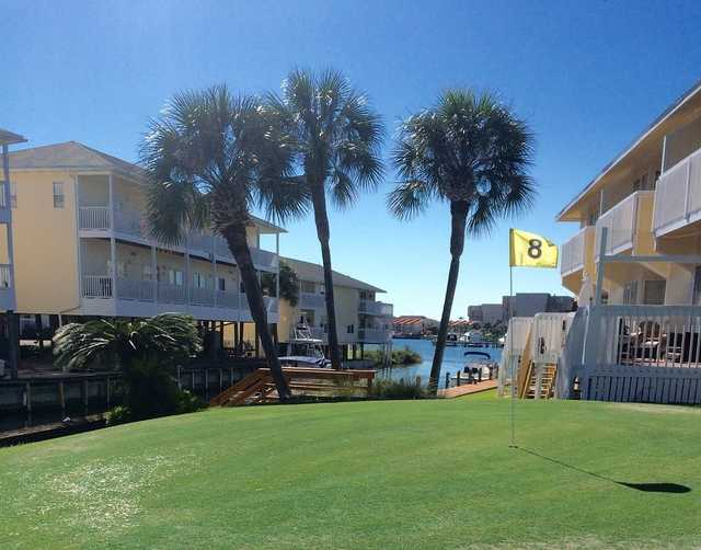 A view of hole #8 at Sandpiper Cove Golf Course.