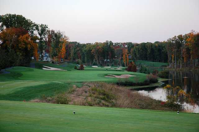 A view from a tee at Stonewall Golf Club from Lake Manassas.