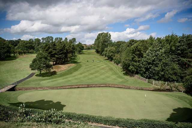 A view of green and fairway #18 at Oakdale Golf Club.