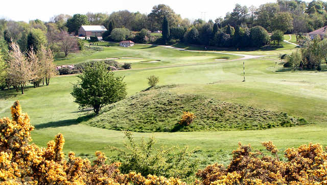 A sunny day view of hole #13 at Tankersley Park Golf Club.