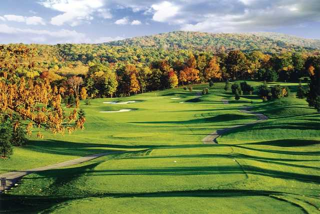 A view from a tee at Tom's Run from Chestnut Ridge Golf Resort & Conference Center.