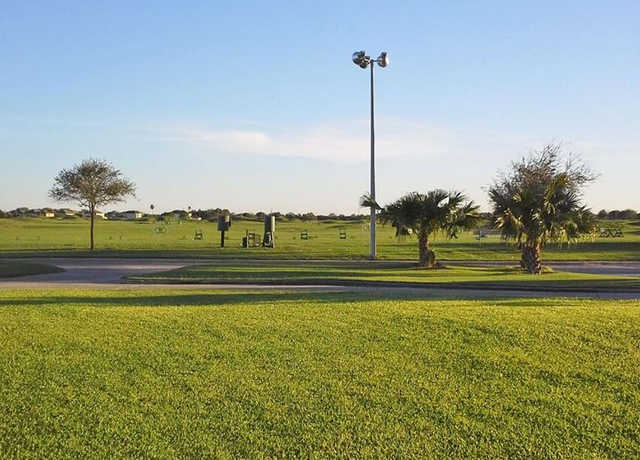 A view of the driving range at Los Lagos Golf Club.