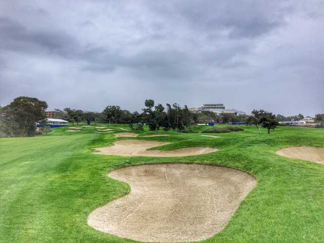 There are plenty of bunkers lining the right side of the fairway on the par-5 13th hole.